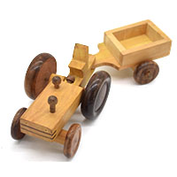 MGA-2819,Tractor with a Disconnectable Trailer Wooden Toy1-a