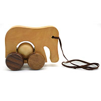 MGA-2821,Wooden Elephant Toy with Moving Ball-aa