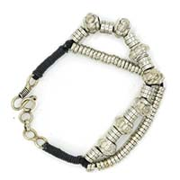 MMcA-2536,Tambour Beads Silver Plated 2 Rows Men Bracelet-a