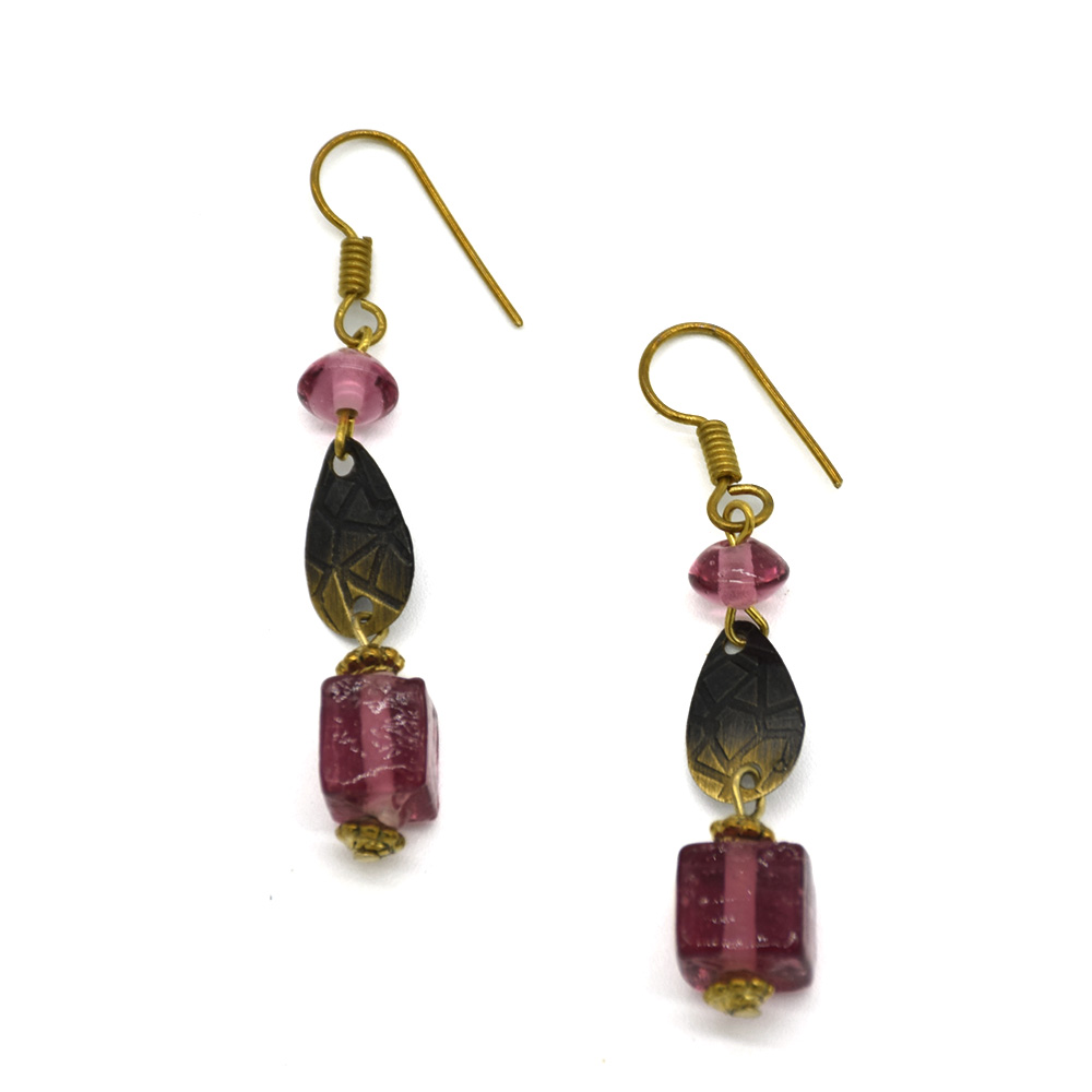Pink Transparent Glass Beads Earrings