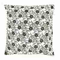 Black & White Floral Motifs Block Printed Pillow Cover