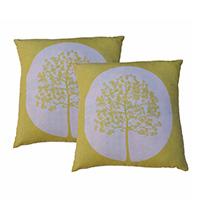 MPiA-2714,Mustard Tree of Life Block Print Pillow Cover-a