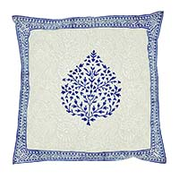 Blue Betel Leaf Border Block Print Pillow Cover