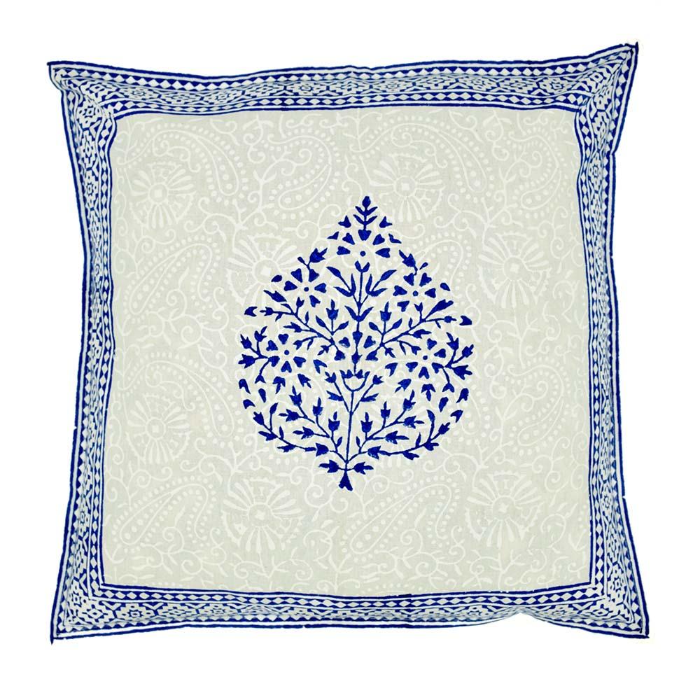 Blue Betel Leaf Border Block Print Pillow Cover