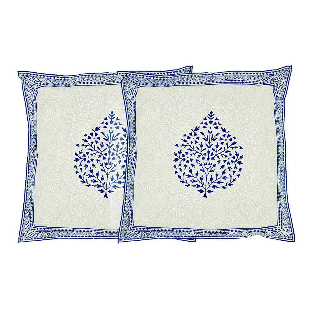 MPiA-2715,Blue Betel Leaf Border Block Print Pillow Cover1