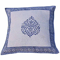 MPiA-2715,Blue Betel Leaf with Border Block Print Pillow Cover(45x45)-a