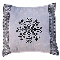 MPiA-2716,PinStripe Border with Flower Block Print Pillow Cover-a