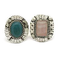 MRA-323,Rose Quard & ,Emerald Stone Silver Oxidised Finger Ring-a