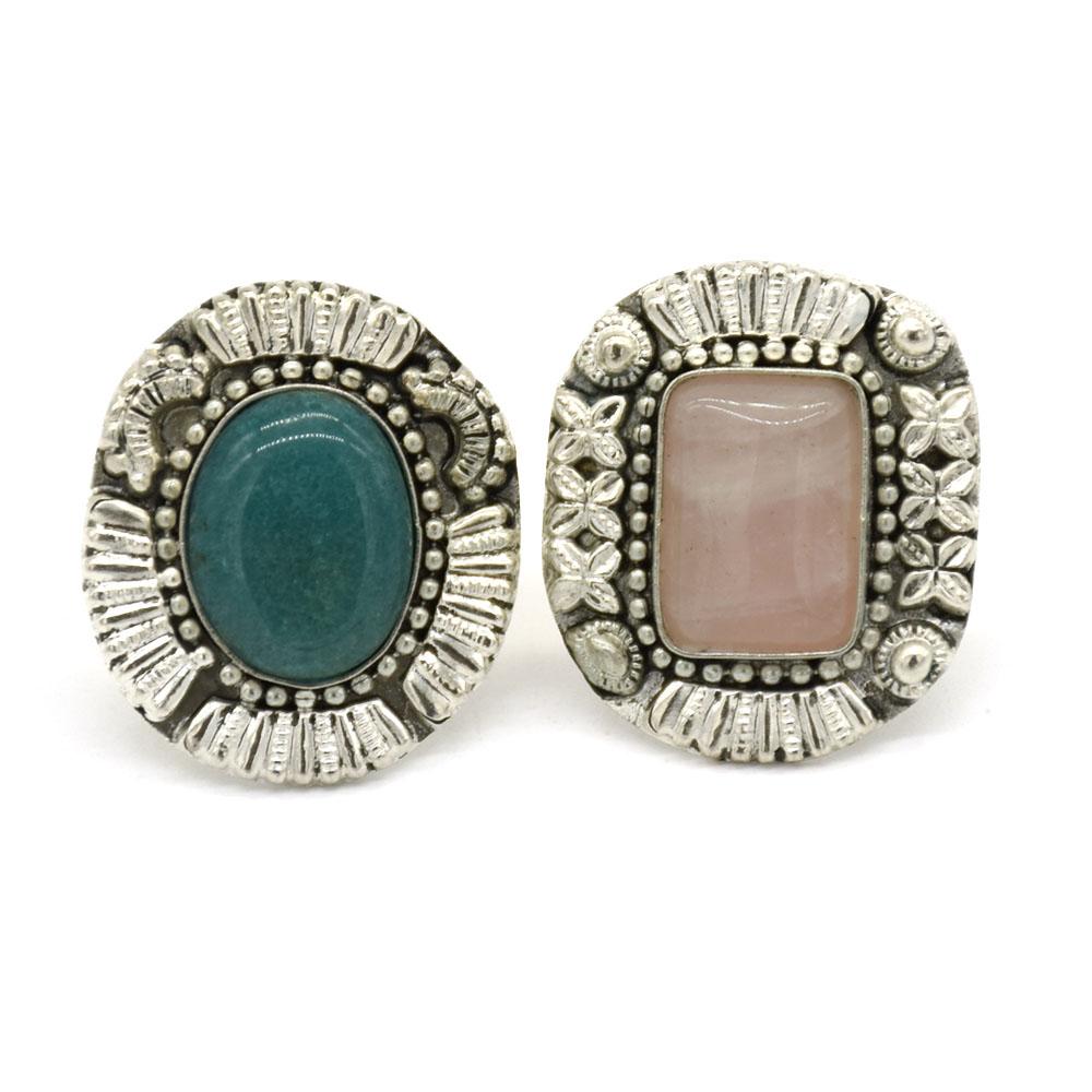 Rose Quard & Emerald Stone Silver Finger Ring