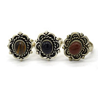 MRA-308,Amethyst,Agate & Agate Tiger Stone Silver Oxidised Finger Ring@-a