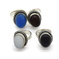 MRA-316,Blue, Black, Moon & Turquoise Oval Stone Silver Oxidised Finger Ring@-a