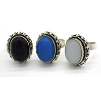 MRA-317,Blue, Moon & Turquoise Oval Stone Silver Oxidised Finger Ring@-a