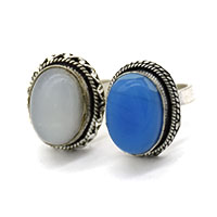 MRA-318,Moon & Turquoise Oval Stone Silver Oxidised Finger Ring@-a