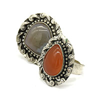 MRA-319,Onyx Stone Silver Oxidised Finger Ring@-a