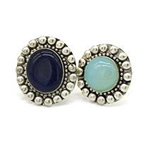 MRA-320,Lapis Stone & Aqua Round Stone Silver Oxidised Finger Ring-a