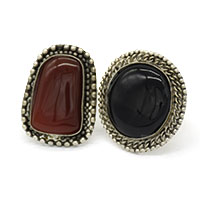 MRA-321,Red Onyx & Black Stone Silver Oxidised Finger Ring@-a