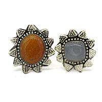 MRA-322,Smokey Onyx & Red Onyx Stone Silver Oxidised Finger Ring@-a