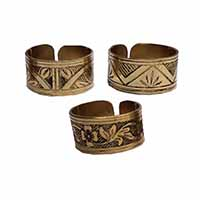 MRA-327,Brass Oxidised 3 Pieces Set Finger Ring, Nickel Free-a