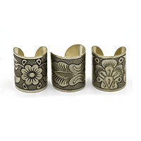 MRA-334,Flowers Different Design Large Silver Oxidised Finger Ring-a