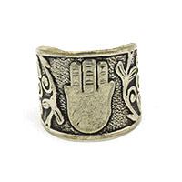 MRA-337,Hamsa Silver Oxidised Finger Ring-a