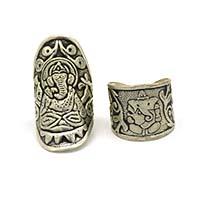 MRA-339,Ganesh Silver Oxidised Large & Medium Finger Ring-a