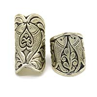 MRA-340,Double Fish Large & Medium Silver Oxidised Finger Ring-a