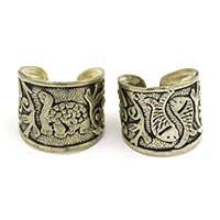 MRA-341,Tortise & Double Fish Silver Oxidised Medium Finger Ring-a