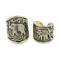 MRA-342,Elephant Medium & Small Silver Oxidised Finger Ring-a