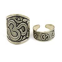 MRA-343,Om Silver Oxidised Medium & Small Finger Ring-a