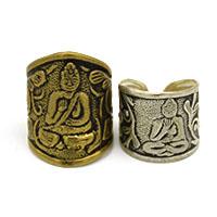 MRA-344,Budha Brass Large & Silver Medium Oxidised Medium Finger Ring-a