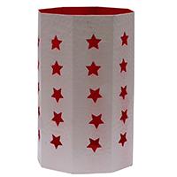Octagon Star Cut White Tea Light Holder