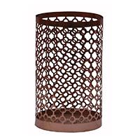 MCA-1133, Jali Cut Copper Medium Glass Tea Light Holder a