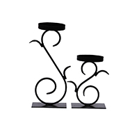 MCA-1134, Wrought Black Iron Candle Stand a