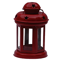 MCA-1136, Star Simple Red Small White Glass Lantern a