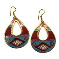 Enameled Brass Oval Earrings