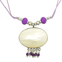 MNA-1119,Oval Shell with Purple Beads-a