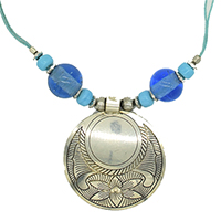 MNA-1120,Blue Glass Beads Flower Necklace-a