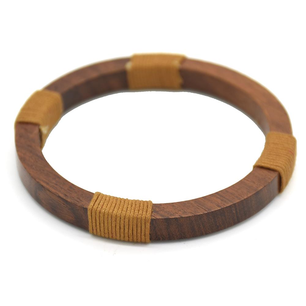 Cotton Thread Wrapped Wooden Men Bracelet