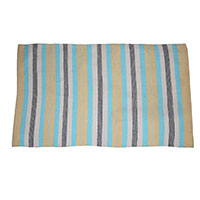 MRuA-3402,Striped Cotton Rug-Yellow & Turquoise-a