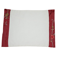 Flower Red Border Placemats-Set of  6