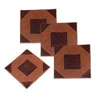 MCoA-1722,Square Brown Leather Coaster-Set of 4-a