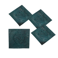 MCoA-1723,Embossed Leave Green Leather Coaster-Set of 4a