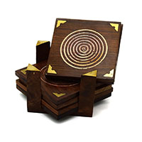 MCoA-1726,Round Spiral Wooden Coaster-Set of 4-a