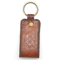 MMcA-2549,Embossed Flowers Leather Key Ring-Brown-a