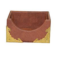 MNpA-1526,Brown Leather Gold Oxidised Clip Napkin Box-a