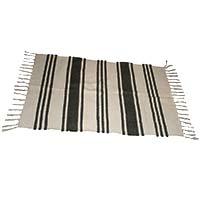 MRuA-3404,Striped Cotton Rug-Black & White-a