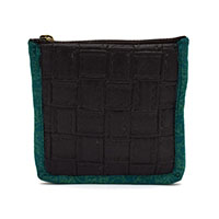 MBaA-1923,Leather & Fabric Coin Purse-Black-a