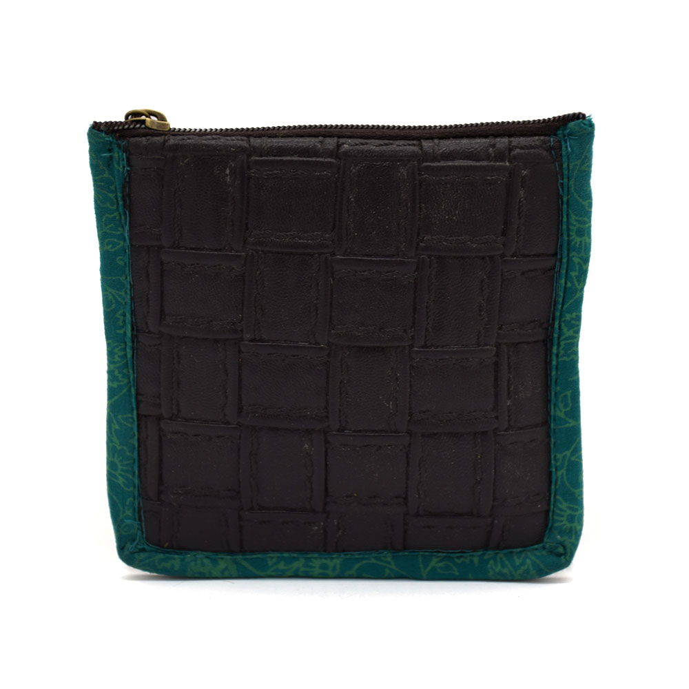 Leather & Fabric Coin Purse-Black