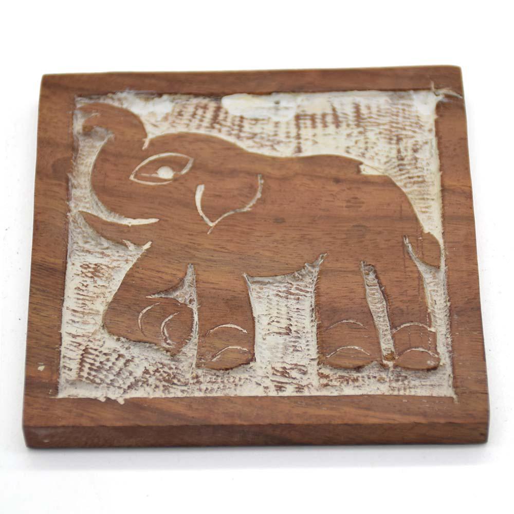 Elephant Wooden Coasters-Set of 4