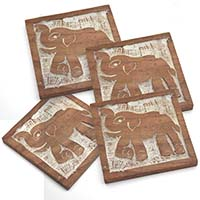 MCoA-1729, Elephant Wooden Coasters-Set of 4-a